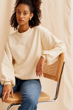 Puff Sleeve Sweatshirt in Alabaster - Kotn Deep V Dress, Jersey Skirt, Scoop Neck Dress, Eco Friendly Fashion, Made Clothing, Sustainable Clothing, Sustainable Fashion, Sweatshirt Dress, Ethical Fashion