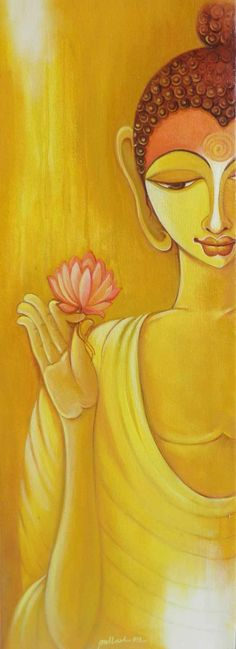 Buy Buddha artwork number a famous painting by an Indian Artist Pallavi Walunj. Indian Art Ideas offer contemporary and modern art at reasonable price. Lotus Buddha, Art Buddha, Buddha Artwork, Buddha Zen, Buddha Painting, Easy Flower Painting, Indian Art Paintings, Paintings Online, Mudras
