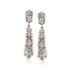 C. 1990 Vintage 5.35 ct. t.w. Diamond Drop Earrings in 10kt White Gold