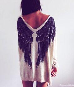 White Angel Wings Loose Jumper