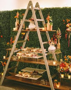 Possibly the most pinned image from any of my weddings because who doesn't love a grazing station of scrumptious mini desserts, set amongst metallic vases of autumnal blooms & against a hedge backdrop  The most amazing team @kalmkitchenltd @westwooddesign @mandjphotos