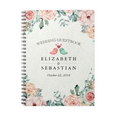 Chic Watercolor Floral Love Birds Couple Guestbook Notebook (195.430 IDR) ❤ liked on Polyvore featuring home, home decor and stationery