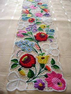 Famous Kalocsa lace (Richelieu) table runner with authentic Hungarian pattern. High quality hand-embroidered lacework.