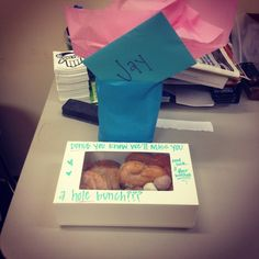 Donut you know we'll miss you a hole bunch? Going away present for boss