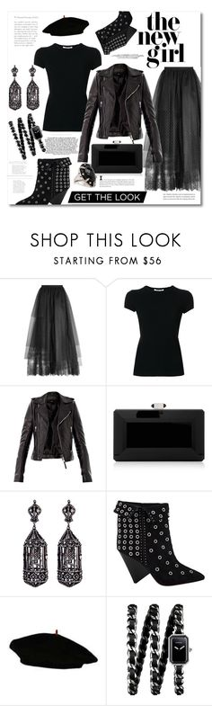 """""""Back in Black"""" by lala530 ❤ liked on Polyvore featuring Elie Saab, Helmut Lang, Balenciaga, Judith Leiber, Amrapali, Étoile Isabel Marant, Chanel and Kerr®"""