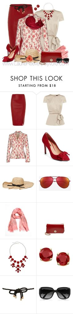 """""""#31 Red Leather Pencil Skirt"""" by lauriereeve ❤ liked on Polyvore featuring Kilian Kerner Senses, Coast, Blue Les Copains, Halogen, Jennifer Ouellette, Yves Saint Laurent, La Fiorentina, Tory Burch, Peach Couture and River Island"""