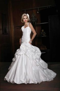 taffeta ball gown halter pick up bubble hem wedding dress 10129 -- Impression Bridal Collection Fall 2012 Wedding Dresses Photos, Bridal Wedding Dresses, Cheap Wedding Dress, Wedding Dress Styles, Bridesmaid Dresses, Bridal Style, Formal Wedding, Gorgeous Wedding Dress, Ball Gown Dresses