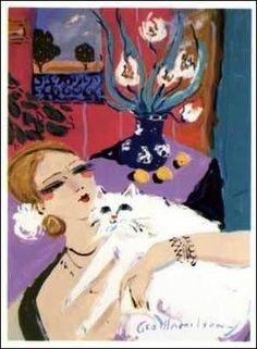 George Hamilton (American, b. Crazy Cat Lady, Crazy Cats, Cat Sketch, Cat Character, Man And Dog, Illustration Art, Cat Illustrations, Vintage Cat, Cat Drawing