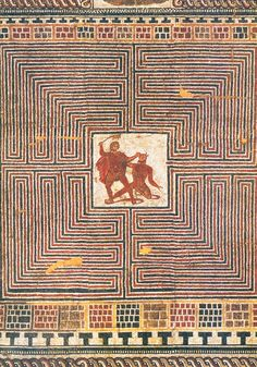 Roman mosaic depicting the battle between Theseus and the Minotaur in the labyrinth, ca. 275-300 CE.