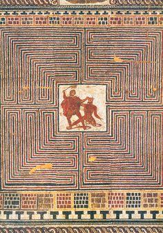 Mosaico romano que representa la lucha entre Teseo y el Minotauro (275-300 d.C. ca.).