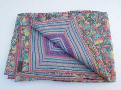 Vintage Bedding Quilt Vintage Cotton Sari Kantha by Labhanshi, $55.00