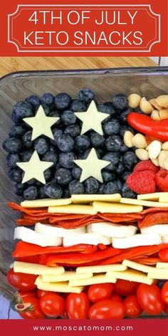 If you are looking for the perfect keto friendly 4th of July recipe – this is it. This Keto Cheese Tray is full of all of your favorite keto snacks in a festive patriotic display! Keto Holiday, Holiday Recipes, Awesome Food, Good Food, Star Cookie Cutter, Dessert Tray, 4th Of July Desserts, White Cheddar Cheese, Keto Cheese