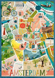 Amsterdam Kaart - afdrukken door TjardaBorsboom op Etsy https://www.etsy.com/nl/listing/246269297/amsterdam-kaart-afdrukken