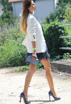 feathered skirt  , zara in Blazers, Zara (new collection) in Skirts, casadei in Heels / Wedges