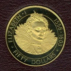 "Cayman Islands Gold Coins - $50 Dollars Gold Coin of 1977, Queen Elizabeth I - ""Queens of England""."