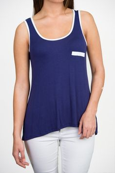 Tailback Tank - Navy With White