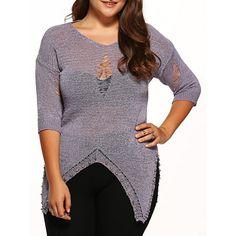Ripped Asymmetrical Rivet Knitwear | TwinkleDeals.com