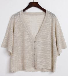 Refreshing V-Neck Pure Color See-Through Half Sleeve Cardigan For Women