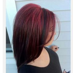 Pretty bright red hair highlights, Used Paul Mitchell hair color. I love this look! Love Hair, Gorgeous Hair, Red Hair With Highlights, Peekaboo Highlights, Color Highlights, Red Hair With Black Roots, Red Black Hair, Red Hair With Lowlights, Highlights Underneath