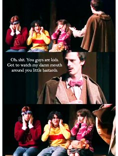 I love how they only cover their ears when Lupin curses>>> what is this from? I NEED TO SEE THIS ( also lupin is smokin hot in his bow tie, bow ties are cool) << DOCTOR WHO Harry Potter Musical, Harry Potter Universal, Harry Potter Fandom, Harry Potter Memes, Slytherin Pride, Hogwarts, Potter Puppet Pals, A Very Potter Sequel, Avpm