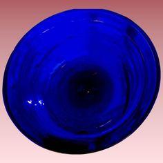 Early American Blown Glass Cobalt Blue Bowl