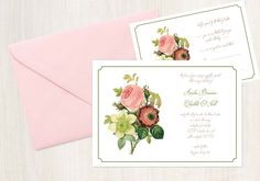 A simple floral beauty with matching reply card. #prettythings #custominvitations #floralinvitations