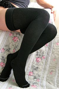 these thigh high socks in a lighter color + dark tights/leggings = super cute winter layering