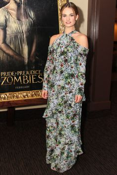 Lily James in Erdem - Pride and Prejudice and Zombies Screening - January 19, 2016