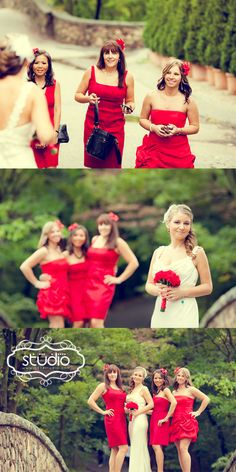 Red wedding theme. Red bridesmaid dresses.
