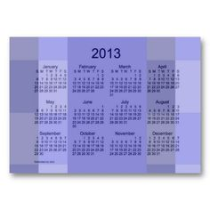 Blue Plaid 2013 Pocket Calendar Business Card Template from Touch of the Wind
