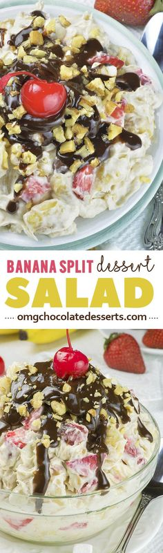 This Banana Split Dessert Salad is fun twist on classic ice cream dessert that everyone will enjoy! Perfect quick and easy no bake dessert recipe for summer party or healthy snack for kids?