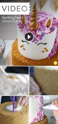 This two-tiered sparkling unicorn cake decorated with a mane of buttercream stars and rosettes will make any birthday magical! Mix and match icing colors to create a whimsical and colorful mane. Diy Unicorn Cake, Unicorn Birthday, Unicorn Party, Mini Cakes, Cupcake Cakes, Sparkle Cake, Two Tier Cake, Icing Colors, Wilton Cakes