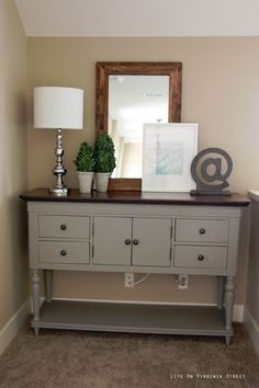 Easy furniture makeover using Annie Sloan Chalk Paint in French Linen - Possible color pallet (warm cocoa walls, grey painted furniture, blue accents). #furniture #makeover by Sally-me