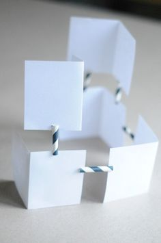 index cards and straws - Calder.  Add pattern/color in Calder style to cards before assembling.