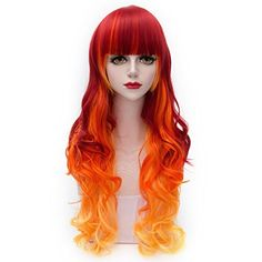 Cosplayvoice Lolita Orange Mixed Red Long 75CM Curly Fashion Party Cosplay Wig ** Click image for more details.