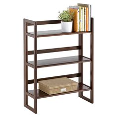 Java Solid Wood Stackable Folding Bookshelf | The Container Store