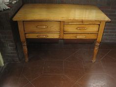 Antique Pine Kitchen Work Bakers Table with Four Drawers Finished on All Sides   eBay