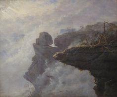 Carl Gustav Carus (Leipzig, Allemagne, 1789 – Dresde, Allemagne, 1869 ), Nuages de brume en Suisse saxonne ( Nebelwolken in der Sächsischen Schweiz ), vers 1828, huile sur toile, Stuttgart, Staatsgalerie Stuttgart