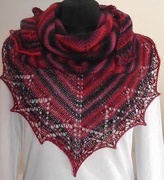 červánkový šáteček Pletený šátek z kvalitní zahraniční příze, nositelný celoročně :-) Barvy - červenočernofialovomodrý melír. Rozměry: nejdelší strana cca 130 cm, v cípu cca 65 cm. Knitting, Winter, Fashion, Winter Time, Moda, Tricot, Fashion Styles, Breien, Stricken