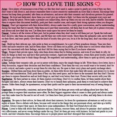 #Zodiac #Compatibility - How to love the signs- These are accurate in my experience.