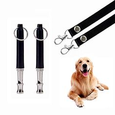 HEHUI Dog Whistle to Stop Barking, Adjustable Pitch Ultrasonic Training Tool Silent Bark Control for Dogs- Pack of 2 PCS Whistles with 2 Free Lanyard Strap (2whistle,Middle Size)