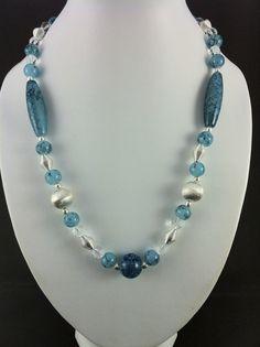 Aqua glass & silver necklace