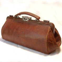 Antique 1900 French DOCTOR Caramel Brown Leather by SallyLuvRose