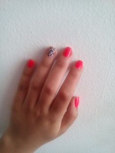 Nail art animal print color salmon ❤