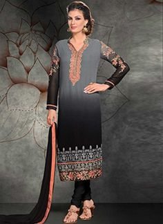 Beautiful Grey Black Embroidery Work Georgette  #Suits #Salwar   http://www.angelnx.com/Salwar-KameezChuridar Suit