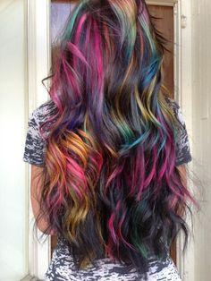 Fabulous Rainbow Hair Color Ideas For You Cute Hair Colors, Hair Dye Colors, Hair Color Dark, Cool Hair Color, Candy Hair, Lilac Hair, Pastel Hair, Green Hair, Blue Hair
