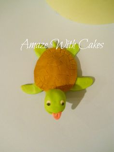 Edible Fondant Turtle Cake/Cupcake Topper by AmazeWithCakes