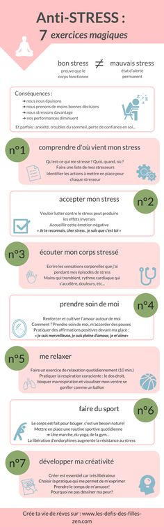 Anti-stress: 7 magic exercises to fight the stre .- Anti-stress: 7 exercices magiques pour lutter contre le stress Anti-stress infographics: my 7 magic exercises to fight against stress.