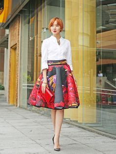55 Perfect Spring Outfit Ideas to Copy Now Full Skirt Outfit, Winter Skirt Outfit, Skirt Outfits, Skirt Fashion, Love Fashion, Spring Fashion, Fashion 2014, Classy Fashion, Fashion Prints