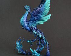 Phoenix sculpture  phoenix figurine  phoenix statuette  OOAK  clay figurine  clay statuette  bird figurine